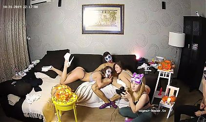 The Halloween Teenagers Orgy Party Starts With Babes Blowjob
