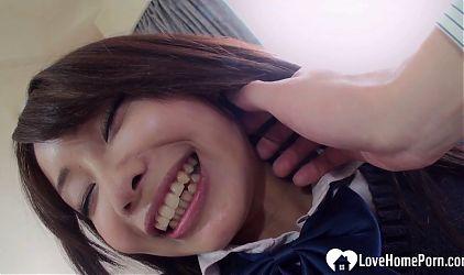 Asian girl gets her love tunnel slammed
