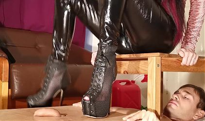 Cock stomping painful cbt in high heels for slave pt2